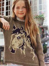 BK5 - KNITTING PATTERN- Girls Jumper With Horse Design - Age 8-16