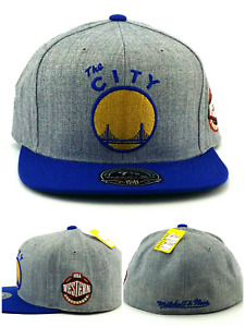 Golden State Warriors New Mitchell & Ness Heather Gray Blue Era Fitted Hat 7 3/8