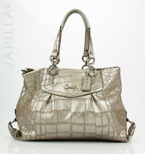 COACH F20345 Ashley Croc Embossed silver Leather Shoulder bag Purse handbag