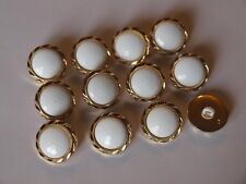 12x Vintage Gold Metal and White Plastic Beehive Buttons ~ 16mm