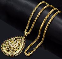 Gold Muslim Allah Islamic Round Necklace Pray God Arabic Pendant Chain UK Seller