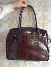OSPREY EXTRA LARGE GENUINE BROWN LEATHER MOCK CROC HANDBAG - new with tags
