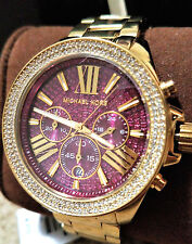 Michael Kors MK6290 Ladies PInk Wren Watch Crystals Gold Tone Watch NEW see pics