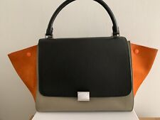 CELINE Trapeze Bag Tricolour Taupe Grey Leather Orange Suede