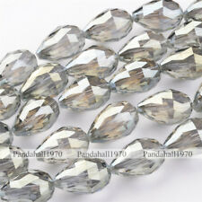 DarkKhaki Faceted Drop Rainbow Plated Electroplate Glass Bead Strands 25x18mm