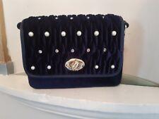 Ladies Designer Fashion Handbag. Pearl/Diamonty. Velvet Look. Fast Delivery.