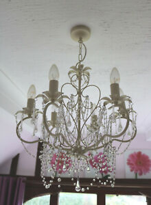 WHITE 6 LAMP CHANDELIER COMPLETE WITH BULBS