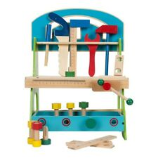 KIDS CHILDRENS 20 PC WOODEN DIY CONSTRUCTION WORK TOOL BENCH ROLE PLAY WOOD TOY