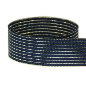 "5 yards 1.5"" Nautical Starry Night Navy Gold Stripes Woven Grosgrain Ribbon"