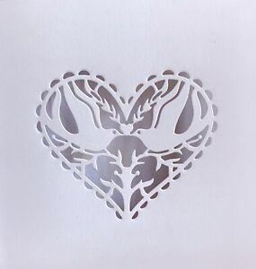 "3 Sets White Wedding Dove Heart Lovebirds Aperture 6""x6"" Cards + Envelopes 6 pcs"