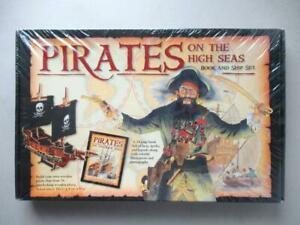 Pirates On The High Seas 24 Page Book and Wooden Model Ship Set