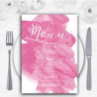 Warm Pink Watercolour Personalised Wedding Menu Cards