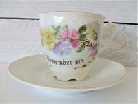 Vintage Mustache Mug Cup & Saucer Set Remember Me Flowers Floral HTF Embossed