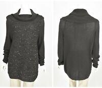 Womens Marina Rinaldi Italy Tunic Jumper Black Cotton Blend Sequined Size M