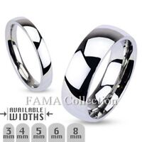FAMA Stainless Steel Mirror Polished Traditional Wedding Band Ring Select Size