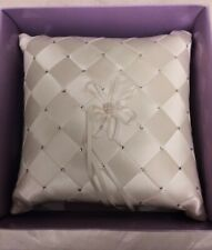 Ivory / Pearl CRYSTALS Ring Pillow Wedding Ring Bearer Cushion BLING