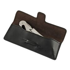 Black Faux Leather Wine Corkscrew Pouch Case Holder 6 x 2.5 Inch