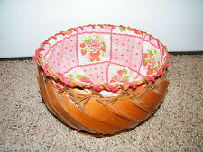 "Vintage ~ Strawberry Shortcake ~  Lined Round Basket ~ 8"" wide / 4-3/4"" tall"