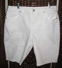 "Coldwater Creek white jean shorts 16 stretch solid 36"" W bermuda"