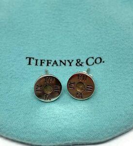 Tiffany & Co. Sterling Silver Atlas Roman Numeral Notes Stud Earrings