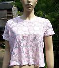 ASOS White & Pink Floral Short Sleeve Cropped Sheer Top Size 12 BNWT