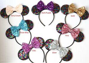 Rainbow Minnie Ears, Rainbow Mickey Mouse Ears, Rainbow Disney Ears HANDMADE