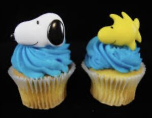 Peanut's Character Snoopy ~ Woodstock Cupcake Toppers Decoration Rings