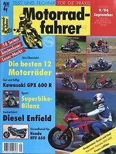 Motorradfahrer 9/94 1994 Enfield Robin Diesel Guzzi 850 T Ural Kawasaki GPX 600
