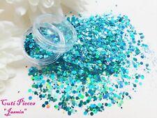 Nail Art *Princess Jasmine* Turquoise Holographic Hexagon Chunky Mix Glitter Pot
