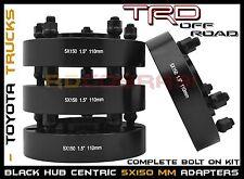 "4 Pc 1.5""  Toyota Tundra Land Cruiser Sequoia Black Hub Centric Wheel Spacers"