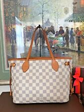 ❤Neverfull PM❤Louis Vuitton❤Damier Azur Tote Handbag Purse 100% With LV