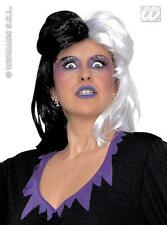 Black & White Cruella Deville Wig 101 Dalmations Halloween Fancy Dress