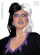Black & White Cruela Deville Peluca 101 Dalmations Halloween Vestido De Lujo