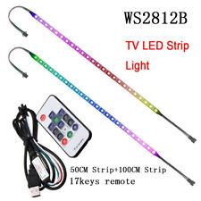 TV LED Backlight 2x50CM+100CM USB RGB 2812 Strip Light Remote Kit 5V 30Leds/M