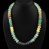 644.10 CTS NATURAL MULTICOLOR FLOURITE UNTREATED ROUND BEADS NECKLACE (RS)
