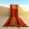 """Moroccan Rug Vintage Wool handmade Azilal rug Berber area wool carpet 12'9""""/2'9"""""""