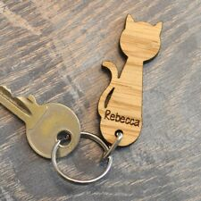 Pussy Cat Shaped Keyring - Personalised Wooden Oak Keyrings for Cat Lovers Gift