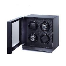 """Reloj Devanadera """"Art Deco """" para 4 Reloj Lacado Piano / Carbono Watchwinder"""