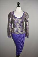 CACHÉ VTG. $328 Purple Gold Sequin Ruched Draped Evening Jacket Dress Size 4