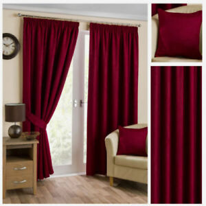 """Wine Soft Thermal Velour Ready Made Blackout Curtains Pencil Pleat  Lined 46""""48"""""""