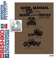 1948 1949 Dodge Truck Shop Service Repair Manual CD Engine Drivetrain Electrical