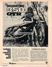 1968 Bridgestone 350 GTR Motorcycle girl wearing striped shirt Vtg Print Ad
