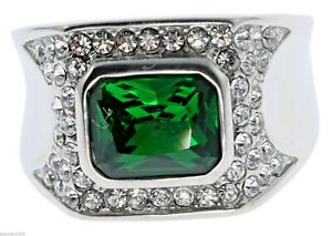 6 Carat Emerald Simulated Cz Accent White Gold Overlay Men's Ring Size 10 T28