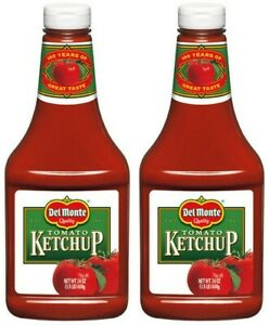 2 Del Monte Tomato Ketchup 24 oz Squeeze Bottles