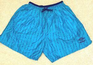 Vtg 90s Umbro Sand Soccer Color Block Nylon Shorts XL Turquoise Purple Spell Out
