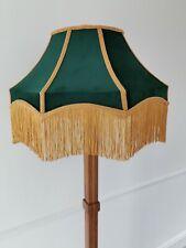 Large victorian lampshade green velvet gold fringe for standard lamp ceiling