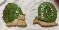 Hoda 77 Pair of Snail Retro Resin Wall Plaques Green and Beige