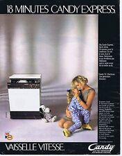 Publicité Advertising 016 1985 Candy lave-vaiselle vitesse