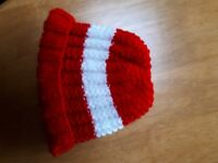 HANDKNITTED BABY PULL ON HAT BABY  RED AND WHITE  0 to 3 months