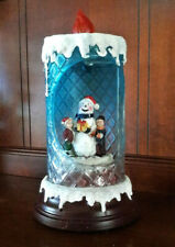 Lighted Rotating Snowman Flickering Flame Candle Christmas Winter Holiday